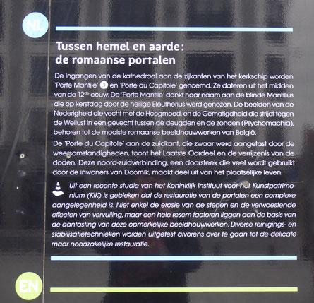 Tournai - Begrip en inzicht door de teksten op de werfafscheiding.