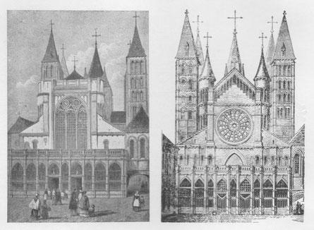 Westgevel Kathedraal in Tournai - Links uit 1526, rechts uit 1581. Uit: Warichez, J. (1934). La Cathédrale de Tournai et son Chapitre.