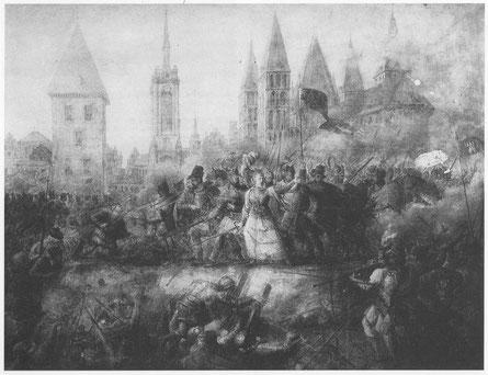 Philippe-Auguste Hennequin (1824). De Verdediging van Doornik door Christine de Lalaing (in 1576). Uit: Benoit, J. (1994). Philippe-Auguste Hennequin 1762-1833. Publiek domein.