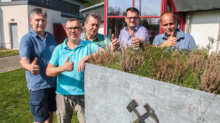 Laden gemeinsam zu Mai-Kundgebung und Bergparade ein: (v.l.) Volker Seemann, Markus Pliska, Werner Nilius, Klaus Terheyden und Mike Jetten.© Michael Dittrich