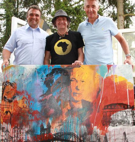 Kurosch Balali (li.) Peter Smolka (Mi.) und Walter Seiwert (li.) präsentieren Bonn in schönster Pop Art-Manier