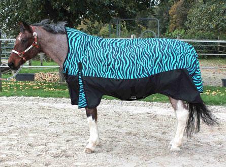 Designer Pferdedecke Blue Zebra