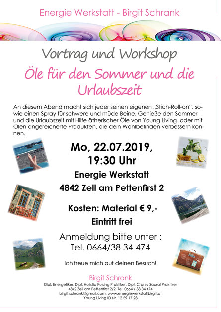 Einladung Vortrag und Workshop Öle für den Sommer und die Urlaubszeit, 22.07.2019