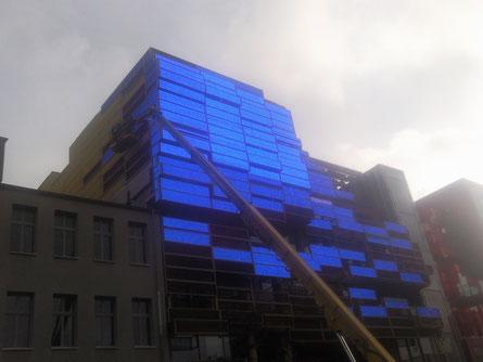 Das neue Klubhaus St.Pauli am Spielbudenplatz kurz vor der Fertigstellung