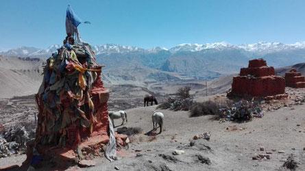 Aussicht Berge und Chorten Upper Mustang
