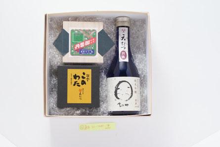 越前仕立て汐雲丹40g、このわた45g、天たつ特別誂え酒300ml詰合せ(KU-102)_10000円(送料・税別)