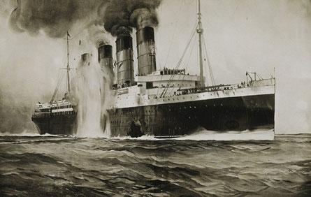 撃沈されたるシタニア号の様子