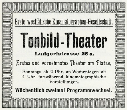 Münster erstes Kino, das spätere ,Capitol' - Werbeanzeige 1914