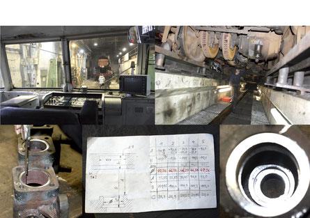 Oben:  Blick aus dem Triebwagen und unter dem Triebwagen. Unten: Das bearbeitete Gruppenventil und der Maßzetel für die anzufertigenden Buchsen.