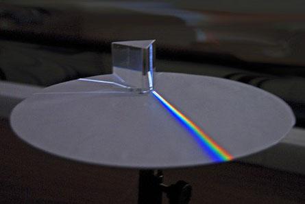 Spectre obtenu avec un prisme, décomposition de la lumière blanche par un prisme