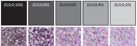 Trame aléatoire d'imprimante jet d'encre observée au microscope (nuances de gris)