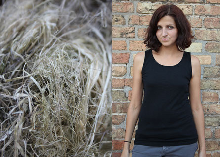 Hemp wool (left) may not look like it, but it's the base for very comfortable clothes (right).