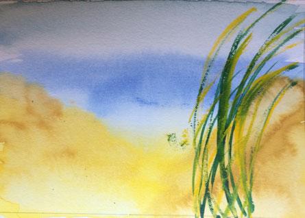 Strand mit Strandhafer, Aquarell
