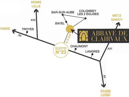 Расположение аббатства Клерво