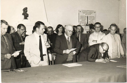 Alain Peronnau a gauche, Louis Daude au milieu.