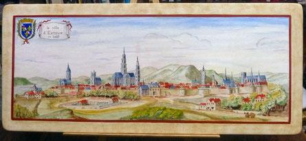 cette peinture a la tempera sur bois, exécutée à l'atelier du Mesnil-Jourdain d'après une gravure  de Kaspas Merian, représente la ville d'Evreux vers 1657.