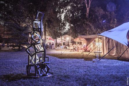 Sculpture extérieure en acier. Michel LAURENT MichL. sculptures et jardins. Sculpture monumentale