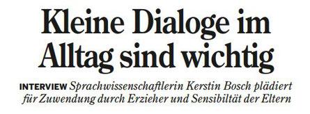 Interview mit Kerstin Bosch in der Heilbronner Stimme: Eltern-Kind-Interaktion und Spracherwerb