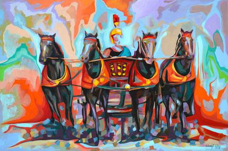 Farbgewaltiges Acrylgemälde eines vierspännigen römischen Streitwagen.