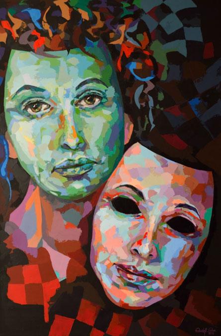 Mit einem Palettenmesser gespachteltes Gemälde aus  Acrylfarben.