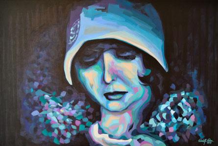 Acrylgemälde einer jungen Frau im zwanziger Jahre Look.