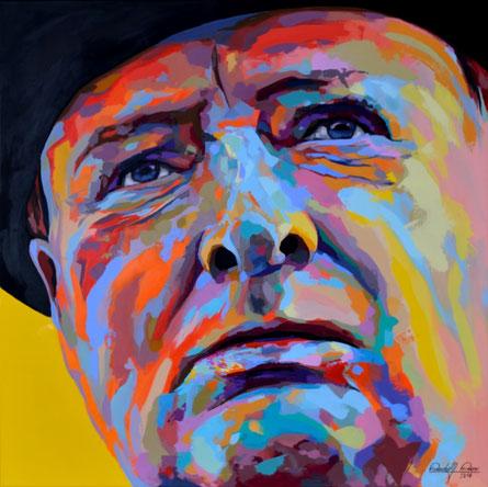 Modernes expressives Gemälde des Winston Churchill, gemalt in Acryl auf Leinwand.