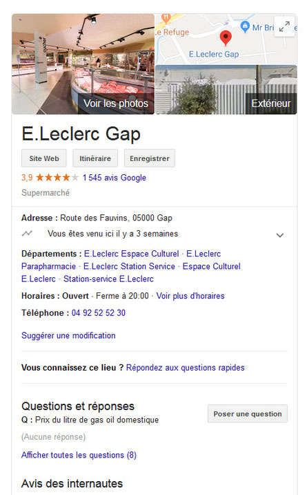 Fiche Google My Business de Leclerc Gap