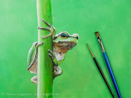 Frosch malen mit Acryl - Realistisch malen mit Acrylfarben