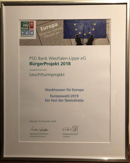 """Siegerurkunde für SfE beim """"PSD BürgerProjekt 2018"""" (© Stockhausen für Europa)"""