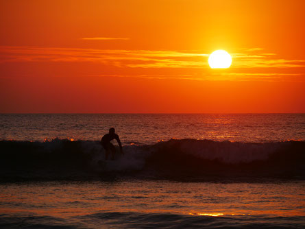 Sunset surfing in Canoa