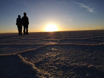 Sunrise in Salar de Uyuni