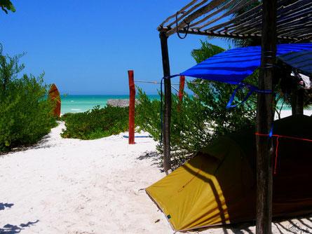 Camping am Strand von El Cuyo