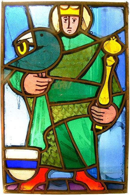 Hans Potthof Standesscheibe Heiliger St.Oswald mit Atributen