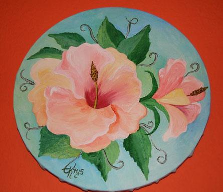 Blüten auf runder Leinwand / Acryl