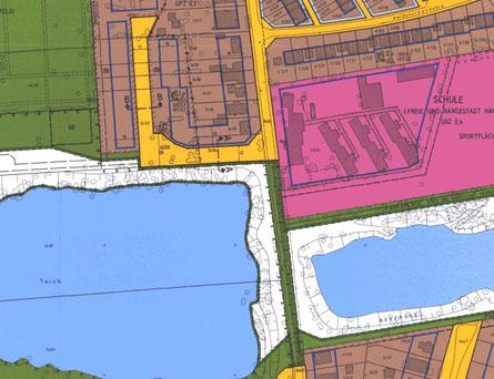 Ausschnitt aus dem Bebauungsplan Bramfeld 58 - Heidstücken sind als Grünfläche gekennzeichnet