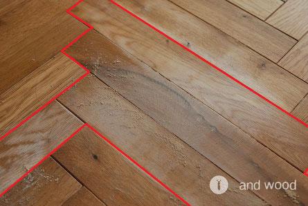 無垢フローリング 補修方法 andwood アンドウッド ヤスリをかける箇所
