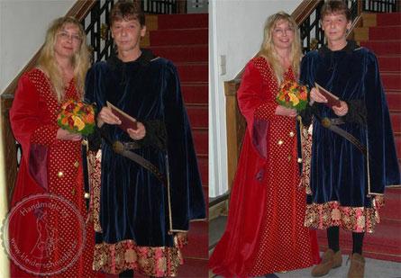 Mittelalterhochzeit, Gewandungen, Mittelalterkleid, Hoppelande