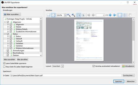 Dialog: Exportieren in eine PDF-Datei