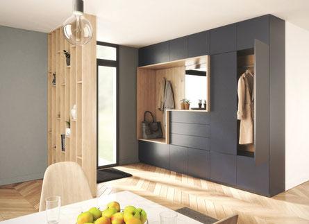 ©Coulidoor, Rangement bleu foncé et gladstone sable avec miroir argent et système pousse-lache