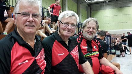 Die drei TTC-Starter am Freitagabend in der E-Klasse: (von links) Horst Kilies, Hermann Bartholomäus und Manfred Bentsche