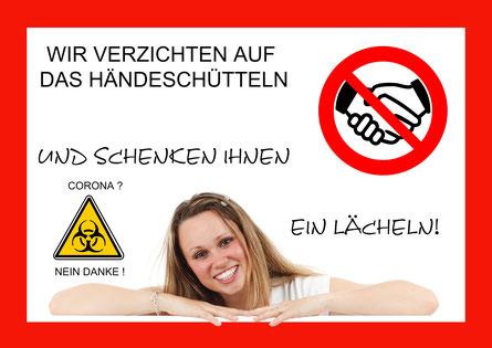 Corona Virus Händeschütteln verboten no handshake Tafel