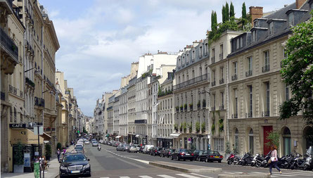 この道の右側を下るとサロンのあったアパルトマン、背後にルクサンブル宮殿。
