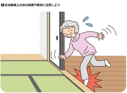 生活動線上の床の段差や素材に注意