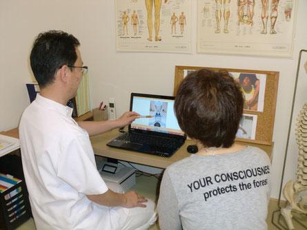 しんそう福井武生では、施術前後の体の姿勢の変化を見ていただき確認してもらいます
