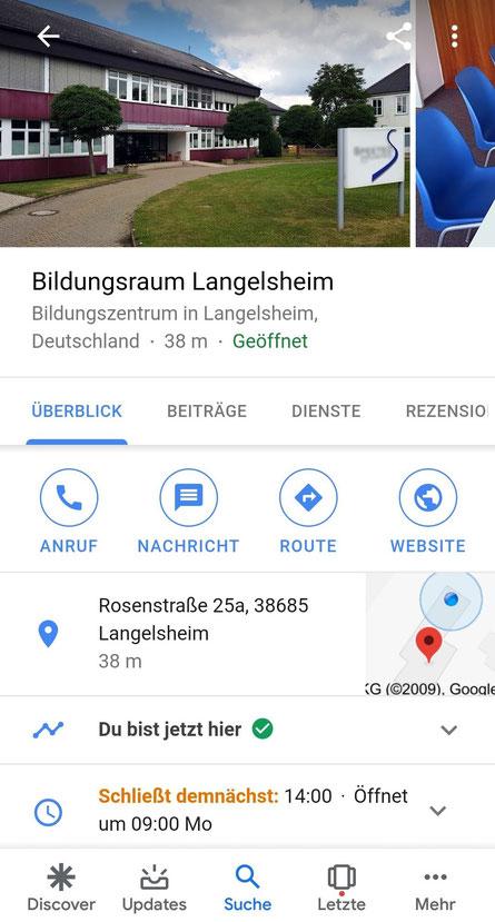 Das Foto zeigt die Ansicht des Bildungsraums Langelsheim im Profil auf Google My Business