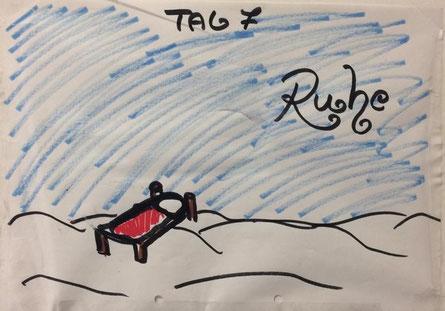 blaue Fläche mit einer Liege, beschriftet mit 7. Tag : Ruhe