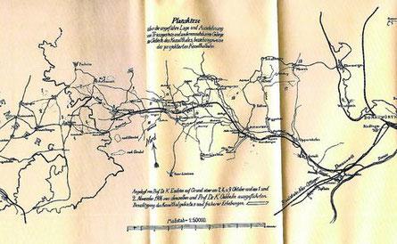 Eine Planskizze von vor über 100 Jahren, die eine mögliche Trasse für eine Eisenbahn von Donauwörth durch das Kesseltal bis nach Amerdingen skizzierte. Archivfoto: Herreiner