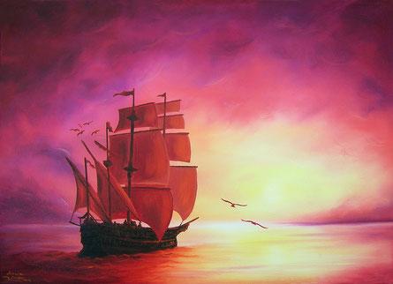 Schiff - Segelschiff - Sonnenuntergang - Meer - Öl-Gemälde - Malerei - Malen
