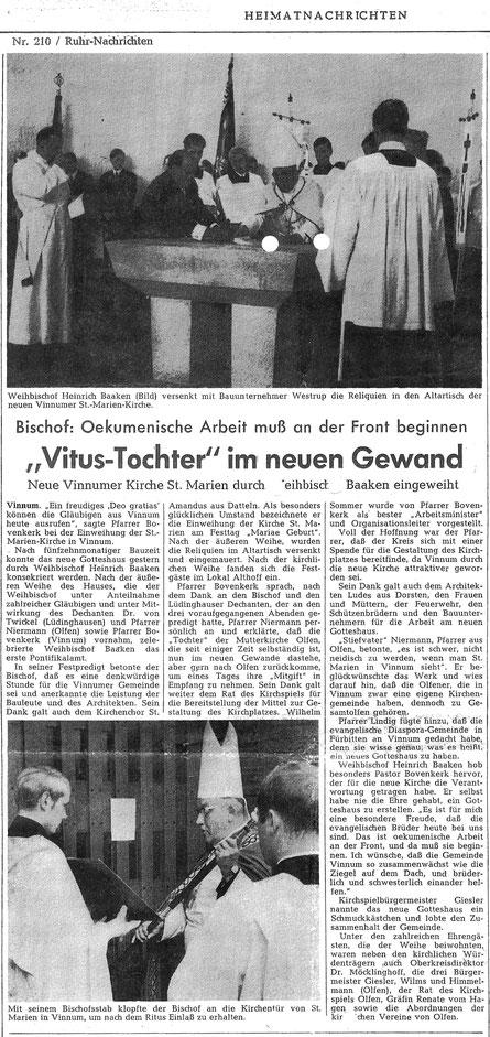 Bericht der Ruhr Nachrichten aus dem Jahre 1968
