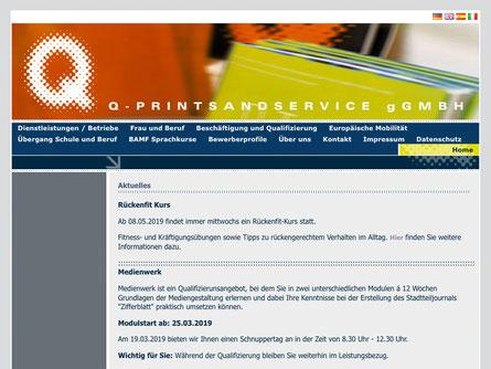 Startseite der Q-Prints&Service gGmbH